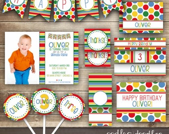 Stripes & Polka Dots Birthday, Combined Birthday, Rainbow Party, Primary Colors, Children's Birthday Printable Party Package,