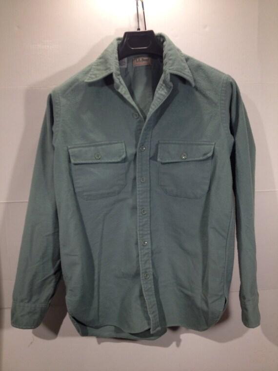 reduced 20 ll bean chamois cloth shirt gray green size 15