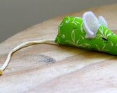 Green Floral catnip mouse, Cat toy, Pet toy: spring floral fabric, white ears and cream tail
