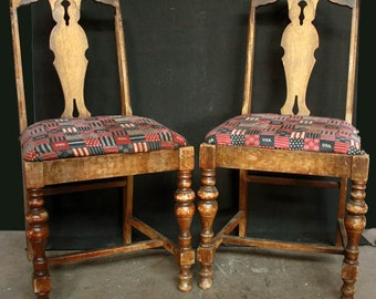 Set of Two Victorian Side Dining Wooden Chairs