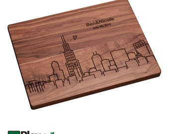 Personalized/ Engraved Cutting Board w/ Chicago 2 Skyline ,Personalized Wedding Gift,Custom Cutting Board,Wedding Gift, City Silhouettes