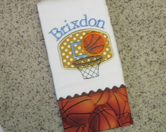 Personalized Baby Boy Burp Cloth with Basketball Theme