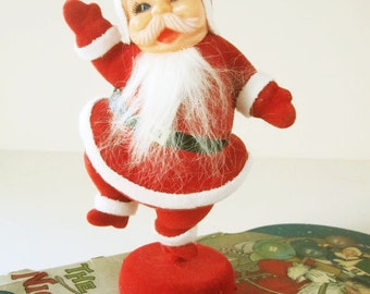 "Vintage Holiday Dancing 9"" Santa Claus - Plastic With Red Flocking and White Beard - Classic 1950s - Light as a Feather"