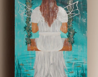 Fairy painting- Original Acrylic Painting Figure Painting FAiry Painting girl painting Modern canavan wall Art Painting by Sami