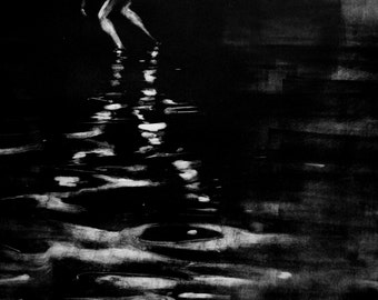 "Haunting Figure Monotype Print,""Solitude VII"""