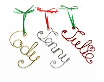 Custom Name or Word Wire Ornament- Red, Gold, Silver, Green