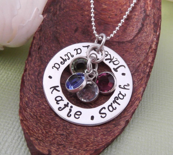 Mommy Washer Necklace- Hand Stamped Personalized Mother Jewelry- Mom Necklace- Mother's Day Gift
