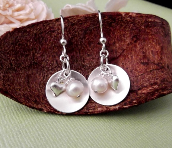 Sterling Silver Pearl Drop Earrings- Heart and Pearl Earrings- Sterling Silver Cup Earrings- Freshwater Pearl Earrings- Mommy Jewelry