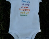 Embroidered baby onsie, bodysuit