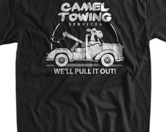 Funny Camel T-Shirt Gifts For Guys Camel Towing T-Shirt Gifts for Dad Screen Printed T-Shirt Tee Shirt T Shirt Mens Ladies Womens