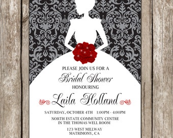 Bride Silhouette Shower Invitation - Damask Bridal Shower - DIY Printable