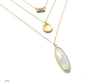 Moonstone Layer Necklace, Gold Necklace, Bezel Pendant, Bezel Gemstone, Landon Lacey, Long Layered Necklace, Delicate Necklace, Gemstone