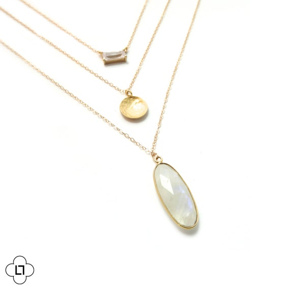 Bezel Gemstone + Moonstone Layer Necklace
