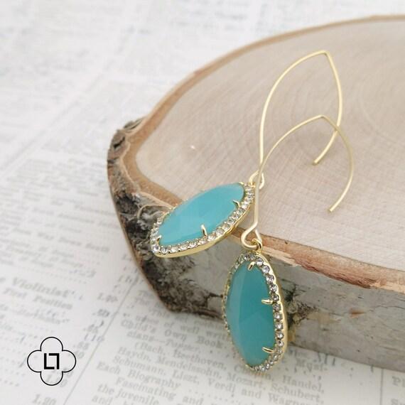 Long Pave Framed Turquoise Earrings