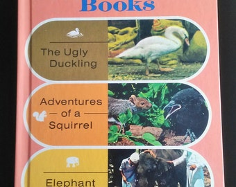 Vintage 1970s Childrens Book My Fun To Read Books 2 - Ugly Duckling - Adventures Of A Squirrel - Elephant Baby