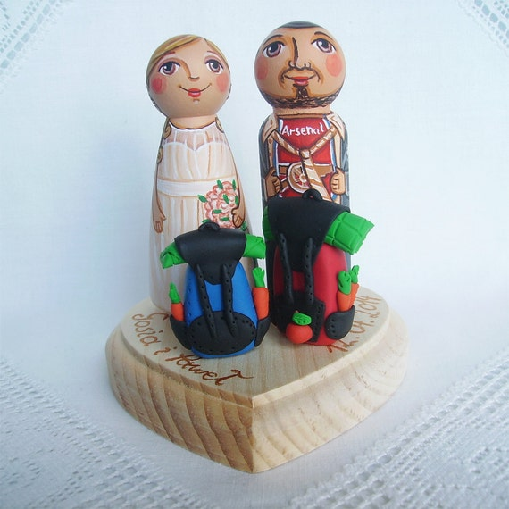 Personalized wedding cake topper decoration bride groom peg doll dress