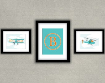 Personalized Airplane Baby Nursery Print Set of 3 - Monogram, Biplane, Helicopter Boy Decor - Orange and Teal