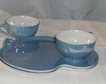 Vintage Noritake lavender blue luster 4 piece snack set