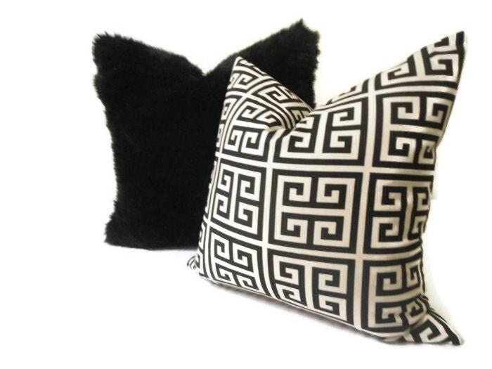 Black Fur Throw Pillows : 20x20 Black Faux Fur Throw Pillow Poli insert by ElizabethDecors