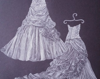 """11""""x14"""" Custom Front and Back Wedding Dress Drawing"""