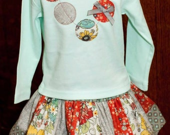 Girls Skirt- Twirly Skirt- Skirt Set- Custom Boutique Girls Twirl Skirt and Applique Necklace Tee- Size 6 yr to 10 yr- the dottedduck