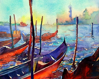Fine art watercolor painting of gondolas with church of San Giorgio Maggiore in distance- Venice, Italy.  Venice painting.  Venice art