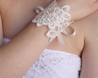 Lace Wrist Corsage. Bridesmaid gift. Maid of honour. Statement Bracelet,bridal cuff, bridesmaid bracelet.