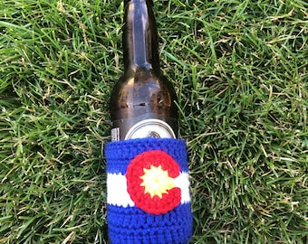 Crochet Beer Cozy Colorado Flag ,Beer Cozie, Soda Cozy, Soda Sleeve, Beer Sleeve, Colorado