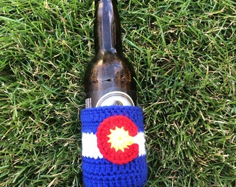 Crochet Beer Cozy Colorado Flag ,Beer Cozie, Soda Cozy, Soda Sleeve, Beer Sleeve, Colorado