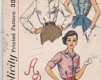 Simplicity 2195 Vintage Pattern Womens Button Up Shirt in 3 Variatons 1940's Pattern Size 14