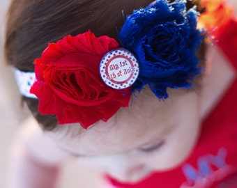 My First 4th of July Headband, 1st July Fourth bow, Baby's first red white & blue accessory newborn, Infant, baby girl, patriotic hairband