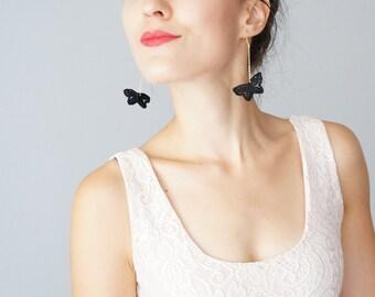 Butterfly Earrings Lace Earrings Black Earrings Dangle Earrings Long Earrings Girlfriend Gift Daughter Gift For Her / FARFALLA