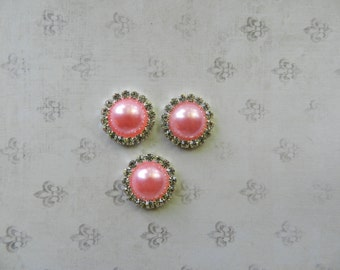 3 Pieces of  21mm Gorgeous  Pink Pearl Rhinestone