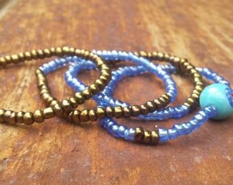 SMALL - Eye See You- Blue Seed Beads, Bronze Seed Beads, Bull's Eye Bead, Stretch Beaded Bracelet Set