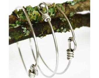 Set of 3 Upcycled Bicycle Spoke Bracelets - Bike Spoke Bracelet -  Stainless Steel Jewelry. Elegant & Eco Friendly Bracelet. Silver Bracelet