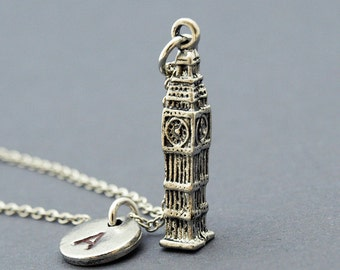 Big Ben Necklace, Elizabeth Tower, Clock Tower, initial necklace, initial hand stamped, personalized, antique silver, monogram