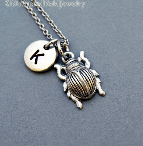 scarab beetle necklace beetle charm initial necklace