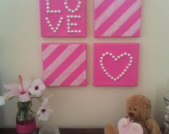 Pink Love Canvas Art Set