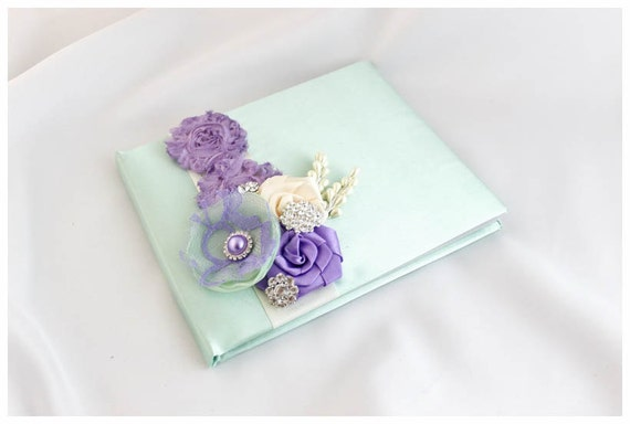 Wedding Lace Guest Book Custom Bridal Flower Brooch Guest Books in Sage Green, Ivory and Lavender Lilac