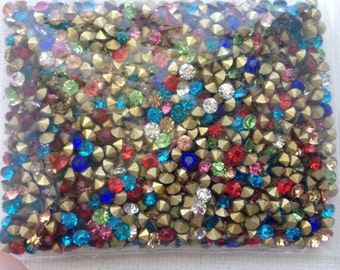 50pcs 3.3mm - 13.5SS - PP26 Mixed Color Glass Crystal Rhinestone Chatons Cone Back