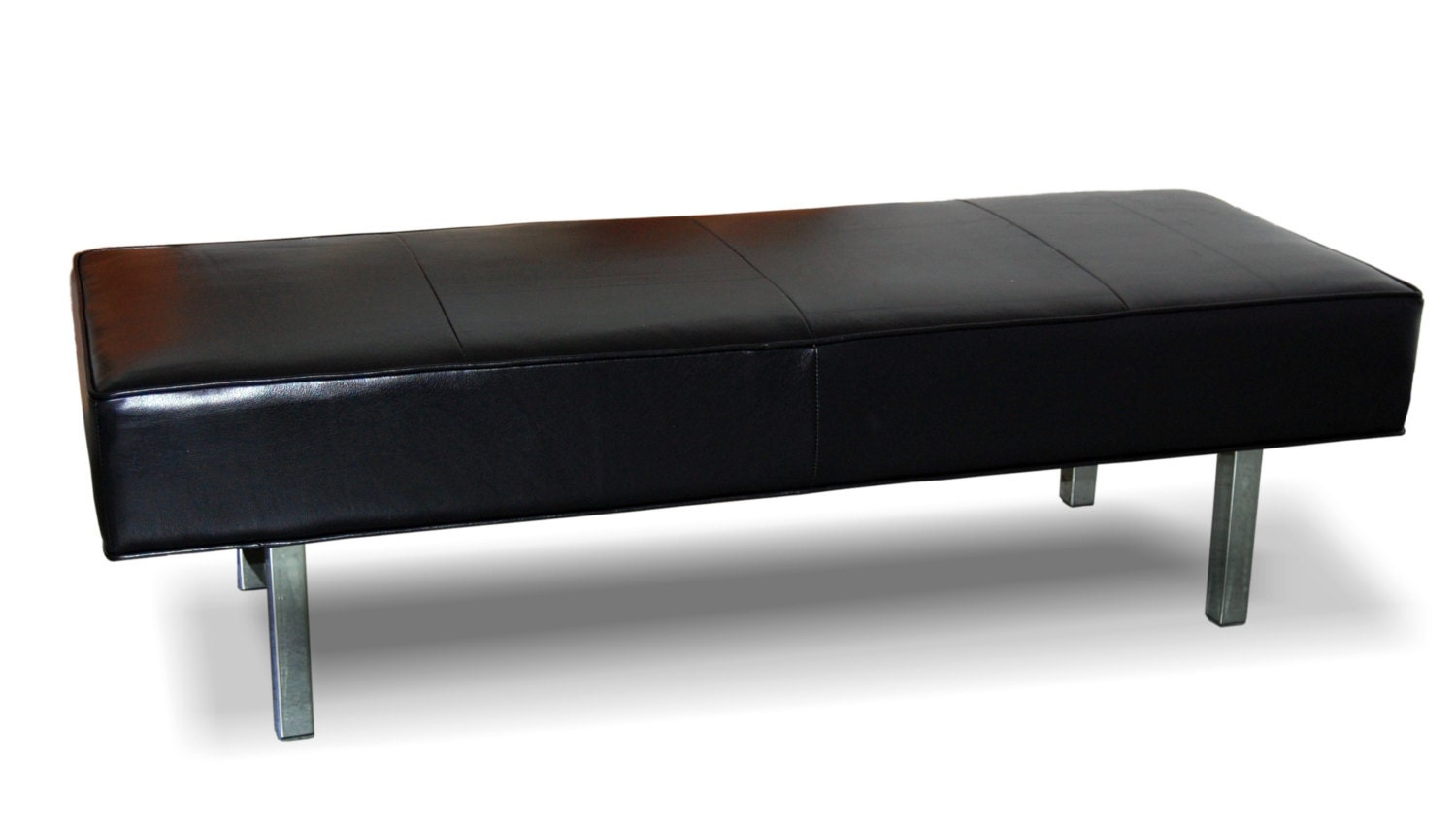 Ultra Contemporary Black Genuine Leather Bench Ottoman With Chrome Legs