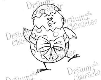 Chick Inside Easter Egg Digital Stamp/ KopyKake Image-  SP38-CHICK