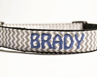 """Personalized - 1"""" wide Gray Chevron Dog Collar - Made to order"""