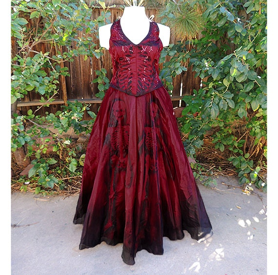 Dark sugar skull burgundy gown or zombie prom by for Sugar skull wedding dress