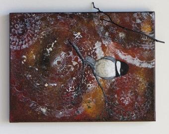 Sweet Chickadee, acrylic painting, chickadee painting, bird art, original painting, fall painting, fine art