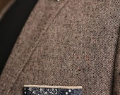 Cotton Pocket Square (Navy + Ivory) - TheAccentsShop