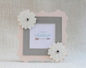 Blush Pink and Gravel Gray Frame with Cream Flowers Photo Frame