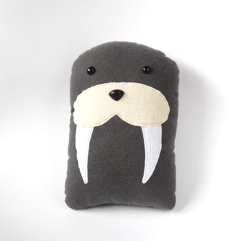 Animal Teddy Pillow : Walrus Plush Stuffed Animal Pillow Gray Marine Mammal Sea