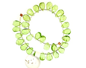 Peridot Briolettes, Green Gemstone Briolette, Peridot Beads AAA, Faceted Teardrop  - (1) 10 Inch Strand (Approx. 30 pieces)