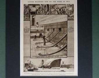 1930s Vintage Aquitania Print - Nautical Decor - Sepia Art - Ocean Liner - Steam Ship Art - Available Framed - Matted Art - Cunard Line Art